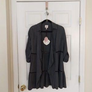 Knox Rose Tiered Drape Front Jacket  XS  Gray NWT